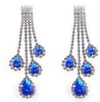aretes de borlas de cristal azul para mujer (8.2 * 2.5cm) (myyhmz)
