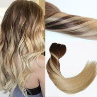 120Gram Virgin Remy Balayage Зажим для волос в расширениях Оммре Средний коричневый до золы Blonde подчеркивает реальные наращивания человека