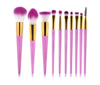 in stock!3D Mermaid Makeup Brushes 10 PCS Purple Glitter Dia...