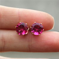 Cheap 8mm Imitation Zircon Stud Earrings Color Circle Round ...