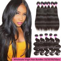 8a y 10a Grado Visón Brazilian Virgin Hair Bundles onda recta del cuerpo onda profunda rizado extensiones de cabello humano rizado venta al por mayor teje para la venta