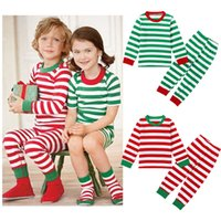 Boys and Girls Christmas Suit Striped Long Sleeves Children ...