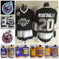 Vintage 1993 Stanley Cup 100a Los Angeles Kings Luc Robitaille Camisetas de hockey LA KINGS 20 Luc Robitaille Stitched Hockey Camisetas