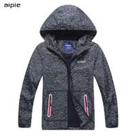 Куртки aipie 3025 новых детей мальчика Сплошной серый Предотвращение ветра и дождя с капюшоном Верхняя одежда Пальто для мальчика 4-12 лет
