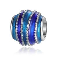 Atacado 30 PCS Royal Blue Esmalte Liga de Metal grande buraco Beads fit Charme Europeu Pulseira DIY Jóias REB74