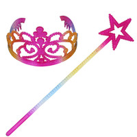 Children Princess Hair Accessories rainbow Crown+ Pentagram s...