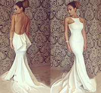 White Floor Length Mermaid Wedding Dresses Mopping Long Sect...