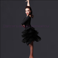 New style latin costumes de danse senior sexy glace soie manches longues robe de danse latine pour les femmes robes M L XL