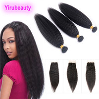 Indian Bundles With Lace Closure Yaki Straight Human Hair Ex...
