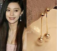 أقراط بالجملة للنساء ومجوهرات الأزياء الكورية الجديدة OL مزاجه مقطع طويل من أقراط اللؤلؤ القرط تقليد الذهب مطلي
