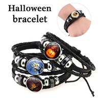 12 Style Halloween Motif de la citrouille Charme Bracelet Temps GEM Cabochon Cabochon Chaîne en cuir Bracelets Rétro Tissé à la main Tissé à la main Chaîne à main réglable