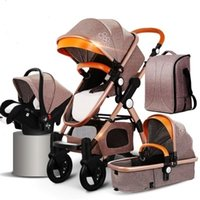 4 in 1 Gold Baby Stroller With Mammy bag Higher Land- scape B...