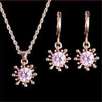 Conjuntos de jóias de casamento Sunflower Zircon Brinco lindamente para noivas Conjuntos de Jóias Bridais