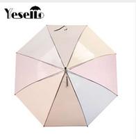 Yesello 1PCS 플라스틱 EVA 8 갈비뼈 긴 손잡이 무지개 투명한 거품 우산 비 여자 반자동 파라과이