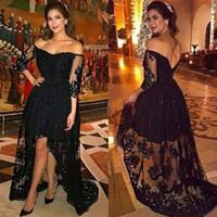 Affascinante 2017 Black Lace Off The Shoulder High Low Prom Dresses Long Sexy Back Illusion 3/4 maniche lunghe abiti da festa formale EN121312