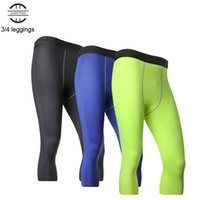 Yel Gym 3 4 Men Leggings New Compression Pants Sports Tights...