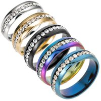 hip hop Gold color Stainless Steel Wedding Bands Shiny Cryst...