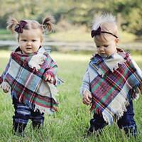 아기 여자 겨울 격자 무늬 망토 어린이 숄 스카프 판쵸 캐시미어 파시미나 착실히 보내다 어린이 코트 재킷 의류 유아 의류