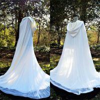 70er Jahre Hochzeitshalter Mantel Mantel Weiß Elfenbein Mit Kapuze Medieval Wrap Bolero Jacke Brautzubehör Perlen Benutzerdefinierte Plus Größe