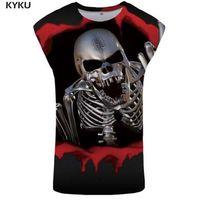 KYKU череп Майка мужчины 3D синглетный рок Ftness одежда панк Tanktop готический жилет Стрингер рубашка без рукавов 2018 смешно печатных