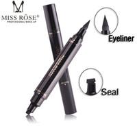قلم تحديد العيون السائل من ماركة روز روز ، مزدوج الوجه مع قلم تحديد العيون أسود جاف مقاوم للماء