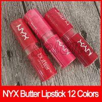 NYX BUTTER LIPSTICK Professionelle Make-up Marken Langlebige Lipgloss Lippenstifte 12 Farbe Gemischt DHL Freies Verschiffen
