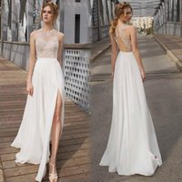 Simple Top See Through palabra de longitud gasa vestidos de novia Jewel Open Back Slit Beach Garden vestidos de novia de encaje barato Summer robe de mariée