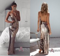 Sexy Full Sequins V- neck Backless Evening Dresses 2018 New V...