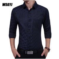 Ekose Gömlek 2017 Yeni Erkek Tasarımcı Elbise Gömlek Tops Casual Slim Uzun Gömlek Boyutu XXL Elbise Gömlek