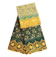 Afrikaanse kant stof Afrikaanse geborduurde stof bazin riche getzner voor Nigeriaanse mode jurk met kralen gyblo034