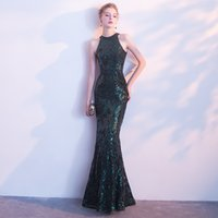 MF036 Evening Dresses Halter Mermaid Bling Sequined Fashion ...