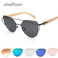 LongKeeper 2019 Katzenaugen-Sonnenbrille Frauen Metallrahmen Bambus Holz Beine Gafas Damen Marke Cateye Fahrbrille UV400