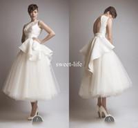 2020 Krikor Jabotian New Vintage Kurze Brautkleider Schößchen Spitze Tüll Backless Jewel Tee Länge Sheer Beach Party Heiße Brautkleider