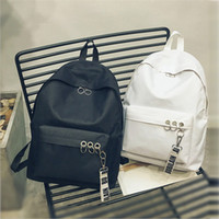 2018 newest fashion canvas Hoop backpacks Solid color studen...