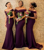 Grape Satin Mermaid Bridesmaid Dresses Saudi African Off The...