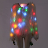 Autumn And Winter LED Luminous Show Faux Fur Coat Star Night...