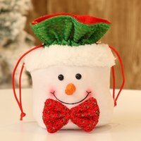 Merry Christmas Candy bags Santa Claus Drawstring Canvas Fab...