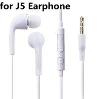 För J5 Hörlurar 3.5mm Jack In-Ear Stereo Hörlurar Earproppar Wired Headset med MIC Remote Volume Control för iPhone Sony Samsung S7 S8 S9