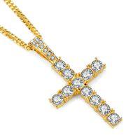 Hip hop mask bijoux de mode en acier inoxydable croix pendentif collier en strass conception gold argent couleur chaîne de couleur bijoux hommes colliers