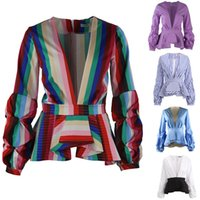16 Colors Rainbow Stripe Peplum Tops for Women Long Puff Sle...