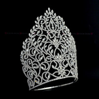 Tall Large Crowns Rhinestone Crystal Adjustable Headband For...