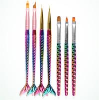 7 tête différente sirène Nail Art brosses UV Gel extension pinceau fleur dessin dessin peinture stylo ongles bricolage outils