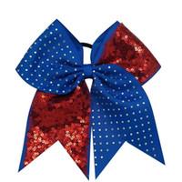8pcs / Bandas 7 '' Sólido Sequins Rhinestone Boutique Grosgrain Ribbon elogio Bow com cabelo elástico para Cheerleading menina Acessórios de cabelo