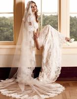 Appliques en dentelle élégante voile mariée 2,5 mètres de long une longueur de chapelle de mariage totalement fait sur mesure mariage voilé avec peigne
