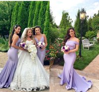 Lavender Off Shoulders Long Bridesmaid Dresses Custom Made M...