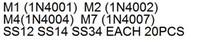 7kindsx20pcs = 140pcs diode SMA SMD 1N4001 1N4002 1N4004 1N4007 1N5817 1N5819 1N5822 (M1 M2 M4 M7 SS12 SS14 SS34)