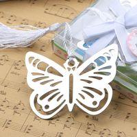 Marcadores de metal con mariposa hueca con mini tarjetas de felicitación borlas kawaii papelería colgante favores de la boda regalos lx3935