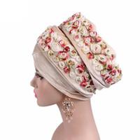 Moda Feminina Festa De Casamento De Veludo Bandanas Nigeriano Hijab Turbante com 3D Rose Flor Extra Longo Lenço Cabeça Wraps 8 cores chapéu