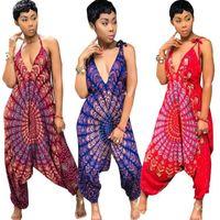 Ethnic Sexy macacãozinho Womens Jumpsuit Macacões Verão Dashiki africanas 2,018 Casual solta Backless Uma Pieece Harem Jumpsuit Grande tamanho do vestido