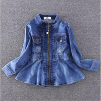 Autumn Winter Girls Denim Jacket Windbreaker Kids Long Sleeve Trench Coat Children Outerwear Girls Clothes Costume